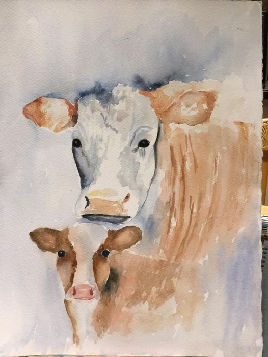 "Mother and calf - watercolour - (10""x12"")"