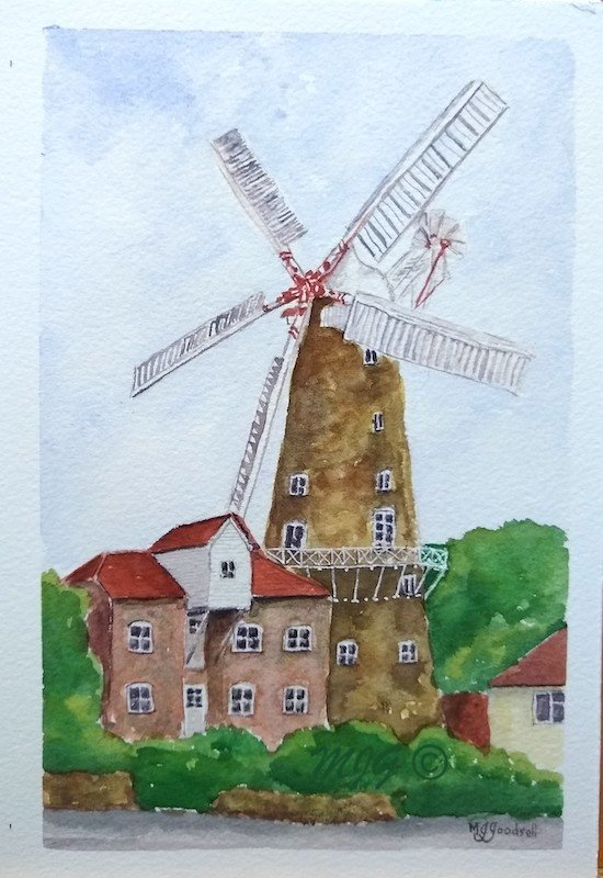 "Maud Foster Mill - watercolour - (7""x5"")"